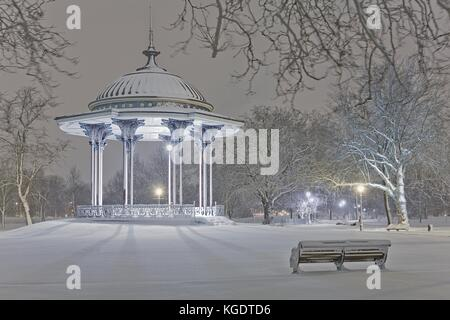 Clapham Common Bandstand in Winter, London - Stock Photo