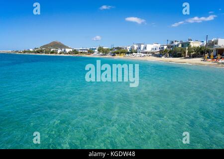 Beach of Agios Prokopios ,west side of Naxos, Cyclades, Greece, Mediterranean Sea, Europe - Stock Photo