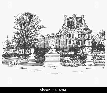 sketch drawing of the Louvre, famous place from Paris, France - Stock Photo