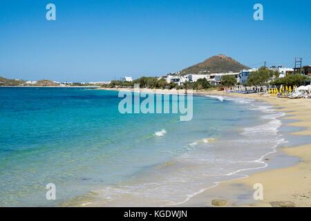 Beach of Agios Prokopios, west side of Naxos island, Cyclades, Aegean, Greece - Stock Photo