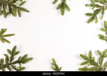 Christmas frame made of fir branches. Top view - Stock Photo