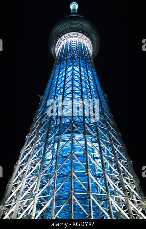 Tokyo Skytree tv and communication tower. Is the tallest free-standing broadcasting tower in the world. Sumida Tokyo - Stock Photo