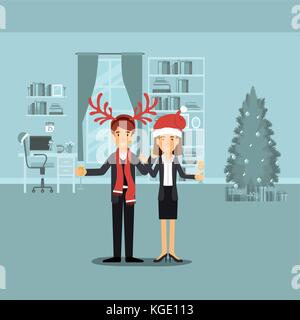 couple in formal clothes celebrating christmas with champagne glass and him with red reindeer horns and her with - Stock Photo