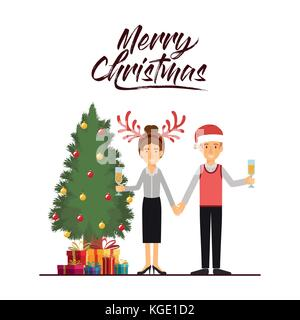 merry christmas card of couple celebrating christmas with champagne glass next to the tree with gifts and her with - Stock Photo