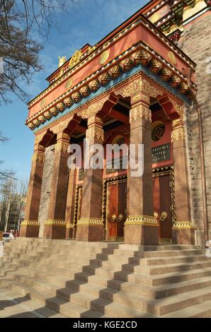 Buddhist temple 'Datsan gunzechoinei is situated in the city of St. Petersburg. - Stock Photo