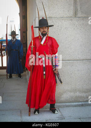Seoul, South Korea, October 2012: Ceremony of Gate Guard Change near the Gyeongbokgung Palace in Seoul city, South - Stock Photo