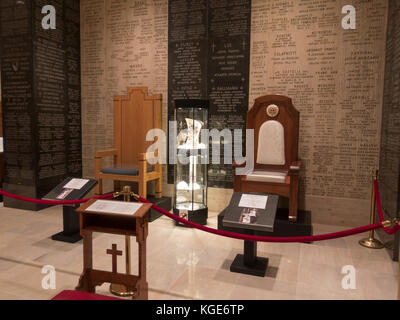 Chairs used by sitting Popes during visits to the Basilica of the National Shrine of the Immaculate Conception, - Stock Photo