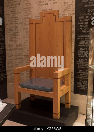Chair used by Pope John Paul II during his visit to the Basilica of the National Shrine of the Immaculate Conception, - Stock Photo