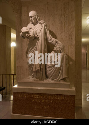 Statue of Mother Teresa of Calcutta, Memorial Hall, Basilica of the National Shrine of the Immaculate Conception, - Stock Photo