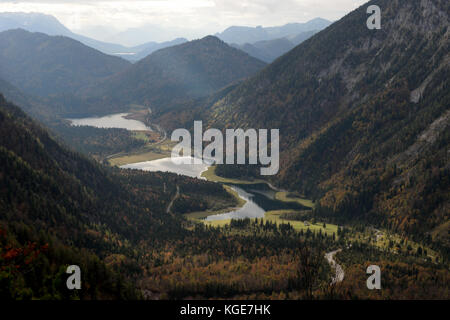 view from Richtstrichkopf towards lakes Loedensee, Mittersee and Weitsee, near Ruhpolding, Bavaria, Germany - Stock Photo