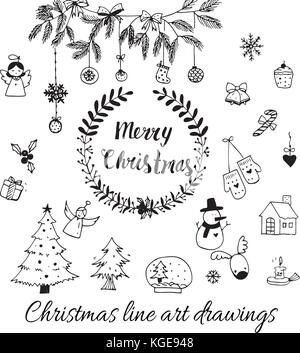 Hand drawn doodle vector. Christmas line art drawings in black. tree, santa and lettering, fir branches, ornaments, - Stock Photo