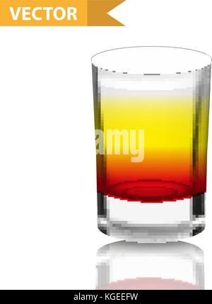 Realistic  shots cocktails. 3d Shot with drinks for bars, restaurans collection. Glass cup liqueur. Isolated on - Stock Photo