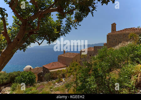 View in the fortified upper town of Monemvasia, southern Greece - Stock Photo