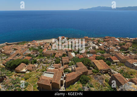 Panoramic view of historical town of Monemvasia in southern Greece - Stock Photo