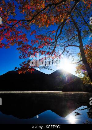 Japanese autumn foliage in Akan, Hokkaido, Japan - Stock Photo