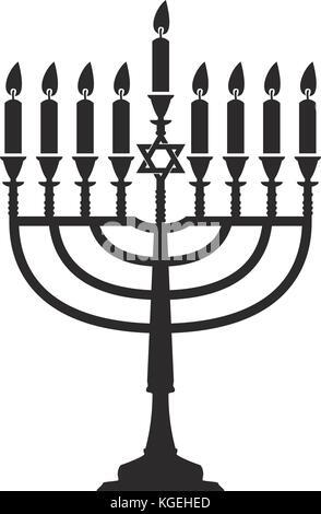 vector hanukkah menorah isolated on white background. jewish religion traditional symbol of hanuka holiday. chanukah - Stock Photo