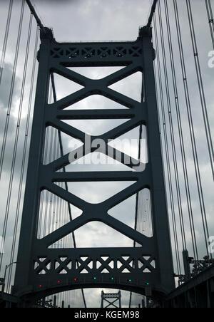 Benjamin Franklin Bridge Connecting Philadelphia to New Jersey - USA - Stock Photo