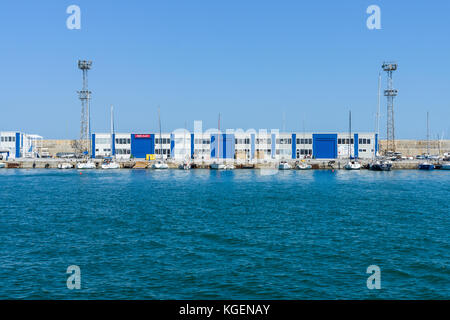 Building with various offices in the seaport of Bourgas. Burgas, is the second largest city on the Bulgarian Black - Stock Photo