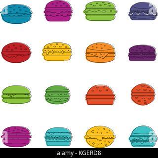 Burger icons doodle set - Stock Photo