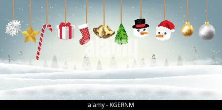 set of real hanging merry christmas object vector - Stock Photo