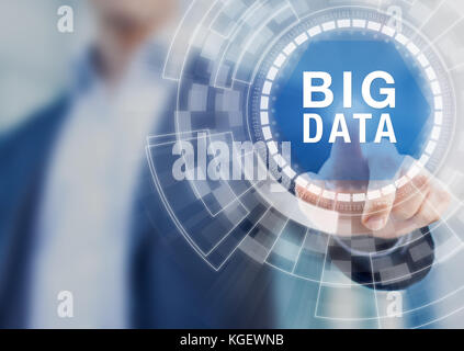 Big data technology concept with person touching complex abstract interface representing warehouse storage, cloud - Stock Photo