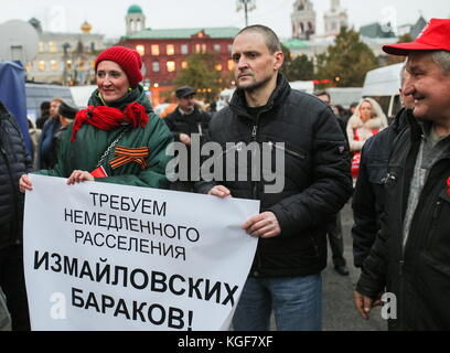 Moscow, Russia. 7th Nov, 2017. Left Front coordinator Sergei Udaltsov (C) seen as the Russian Communist Party rallies - Stock Photo