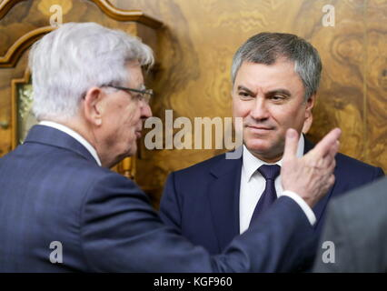 Moscow, Russia. 7th Nov, 2017. Jean-Pierre Chevenement, special representative of the French minister of foreign - Stock Photo