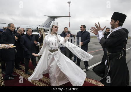 Magas, Russia. 7th Nov, 2017. Dancers in Ingush traditional dress perform during an arrival ceremony for a delegation - Stock Photo