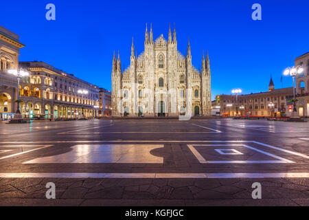 Night Piazza del Duomo in Milan, Italy - Stock Photo