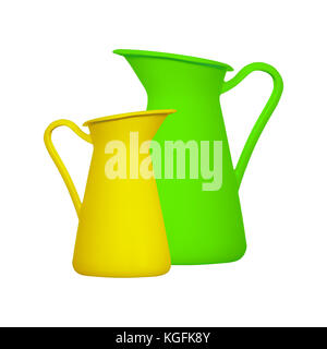 Storage for liquids - Green and yellow jug ewer on a white background. Isolated - Stock Photo