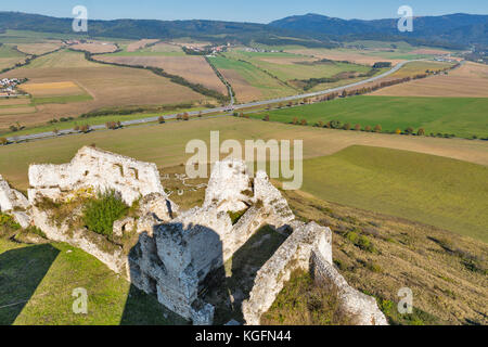 Aerial view from Spis Castle. National Cultural Monument UNESCO, it is one of the largest castles in Central Europe. - Stock Photo