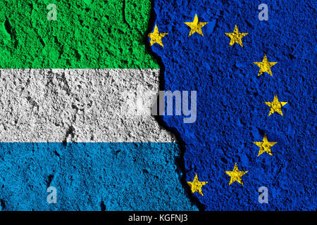 Crack between European union and Sierra Leone flags. political relationship concept - Stock Photo