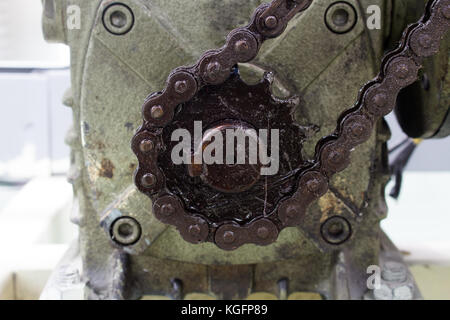 The Motor drive shaft and transmission chain - Stock Photo