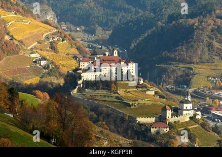 The Monastery of Sabiona near Bolzano, as seen from Villandro. South Tyrol, Italy. - Stock Photo