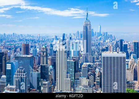 Manhattan skyline, New York Skyline, Empire State Building, New York City, United States of America, North America, - Stock Photo