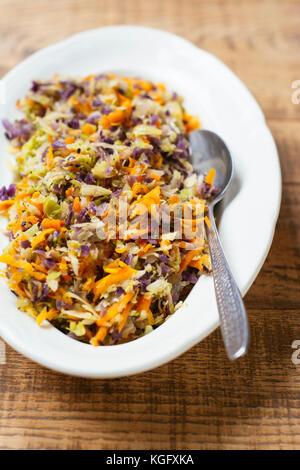 Rainbow rice with shredded vegetables - Stock Photo