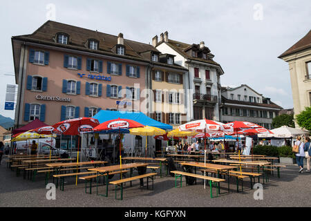 Switzerland,Canton Fribourg,Bulle,daily life - Stock Photo