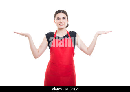 Beautiful woman showing something on her palms with copy text space on white background - Stock Photo
