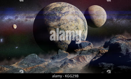 alien landscape with planet, moons and the Milky Way galaxy (3d illustration, elements of this image are furnished - Stock Photo