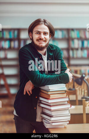 Studying Process in Library - Stock Photo