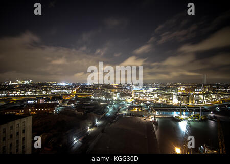 Panorama view from a rooftop in an industrial area of Copenhagen. Denmark 2012. - Stock Photo