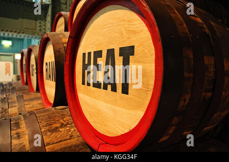 detail of barrels of beer in Guinness Storehouse brewery - Stock Photo