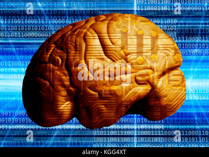 electronics component and human brain, wired brain concept - Stock Photo