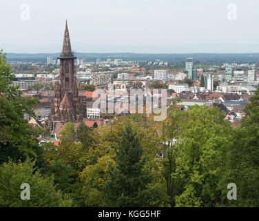 View to Freiburg im Breisgau from the slope of Schlossberg - Stock Photo