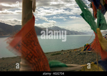 Pangong Tso, 'high grassland lake', also referred to as Pangong Lake in the Himalayas situated at a height of about - Stock Photo