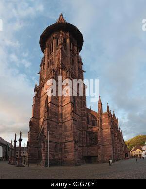 Freiburg Minster (cathedral of Freiburg im Breisgau, southwest Germany) - Stock Photo