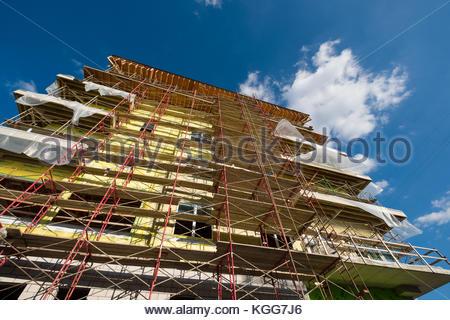 Scaffolding on building under construction, Nashville, Davidson County, Tennessee, USA - Stock Photo