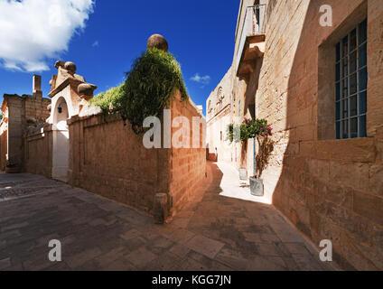 Streets of old town Mdina (Malta) - Stock Photo