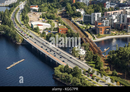 Road and rail bridges in the city of Tampere. Finland - Stock Photo