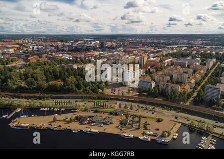 View of the Tampere from the observation deck on the TV tower. Finland - Stock Photo